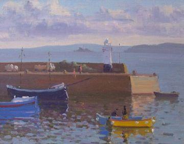 Douglas Hill Original Oil Painting Boats At St Ives Cornwall
